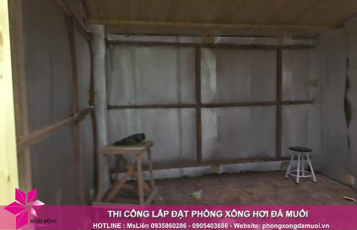 tiến độ công trình phòng xông đá muối tại khách sạn Công Đoàn Quảng Bá 3