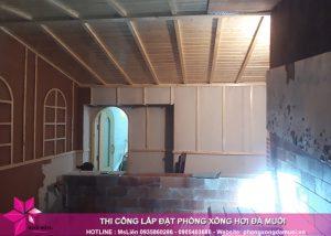 Tiến độ thi công dự án phòng xông hơi đá muối tại Uông Bí, Quảng Ninh 9